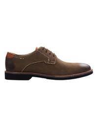 Coffee Brown Outdoor Plain Derby Leather Shoes main shoe image