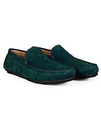 Sea Green Plain Apron Moccasins Leather Shoes alternate shoe image