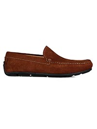 Dark Tan Plain Apron Moccasins Leather Shoes main shoe image