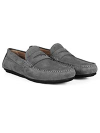 Gray Penny Loafer Moccasins Leather Shoes alternate shoe image