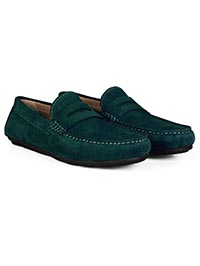 Sea Green Penny Loafer Moccasins Leather Shoes alternate shoe image
