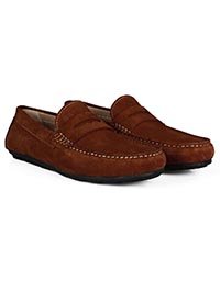 Dark Tan Penny Loafer Moccasins Leather Shoes alternate shoe image