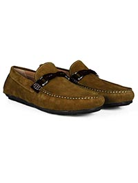 Lighttan and Brown Buckle Moccasins Leather Shoes alternate shoe image