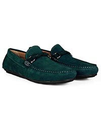 Sea Green and Dark Green Buckle Moccasins Leather Shoes alternate shoe image