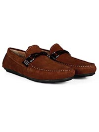 Dark Tan and Brown Buckle Moccasins Leather Shoes alternate shoe image