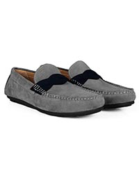 Gray and Navy Blue Cross Strap Moccasins Leather Shoes alternate shoe image