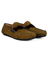 Lighttan and Brown Cross Strap Moccasins Leather Shoes alternate shoe image