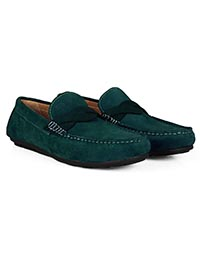 Sea Green and Dark Green Cross Strap Moccasins Leather Shoes alternate shoe image