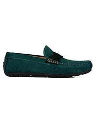 Sea Green and Dark Green Cross Strap Moccasins Leather Shoes main shoe image