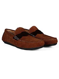 Dark Tan and Brown Cross Strap Moccasins Leather Shoes alternate shoe image
