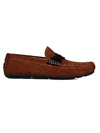 Dark Tan and Brown Cross Strap Moccasins Leather Shoes main shoe image