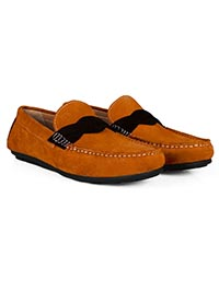 Tuscan Sun and Brown Cross Strap Moccasins Leather Shoes alternate shoe image