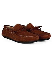 Dark Tan Boat Moccasins Leather Shoes alternate shoe image
