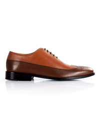Tan and Coffee Brown Premium Wingtip Oxford main shoe image