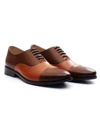 Coffee Brown and Tan Premium Toecap Oxford alternate shoe image