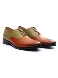 Beige and Tan Premium Plain Oxford alternate shoe image