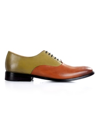 Beige and Tan Premium Plain Oxford main shoe image