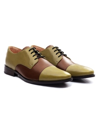 Beige and Coffee Brown Premium Toecap Derby alternate shoe image