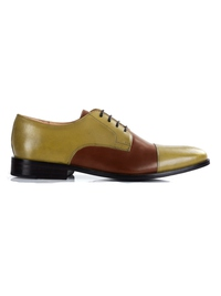 Beige and Coffee Brown Premium Toecap Derby main shoe image