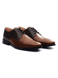 Brown and Coffee Brown Premium Plain Derby alternate shoe image
