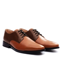 Coffee Brown and Tan Premium Plain Derby alternate shoe image