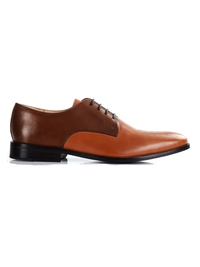 Coffee Brown and Tan Premium Plain Derby main shoe image