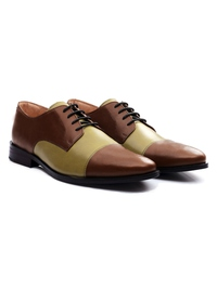 Coffee Brown and Beige Premium Toecap Derby alternate shoe image
