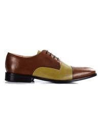 Coffee Brown and Beige Premium Toecap Derby main shoe image