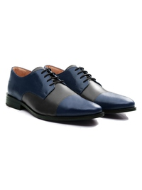 Dark Blue and Gray Premium Toecap Derby alternate shoe image