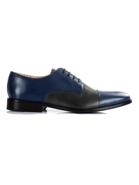 Dark Blue and Gray Premium Toecap Derby main shoe image